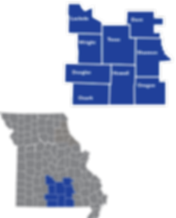 Inset map showing th locations ad counties of Region 8
