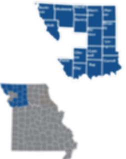 Inset map showing th locations ad counties of Region 4