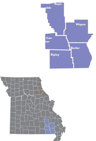 Inset map showing th locations ad counties of Region 7