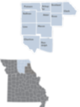Inset map showing th locations ad counties of Region 3