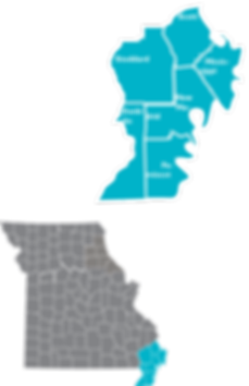 Inset map showing th locations ad counties of Region 6