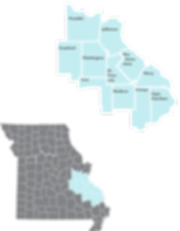 Inset map showing th locations ad counties of Region 1