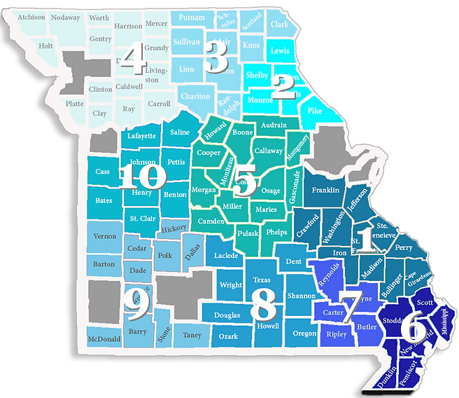Map of the regions and counties in the Missouri Balance of State Continuum of Care