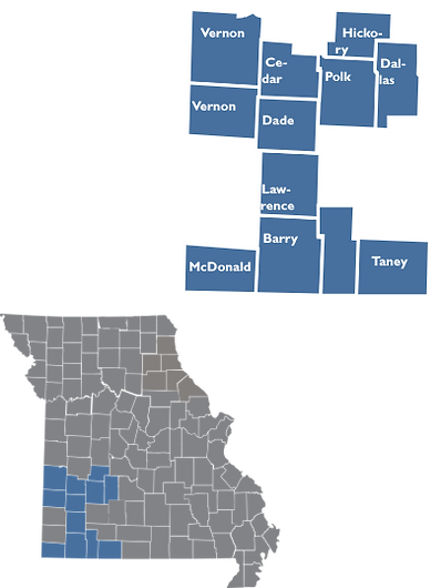 Inset map showing th locations ad counties of Region 9