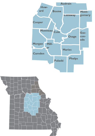 Inset map showing th locations ad counties of Region 5