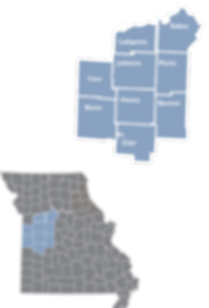 Inset map showing th locations ad counties of Region 10