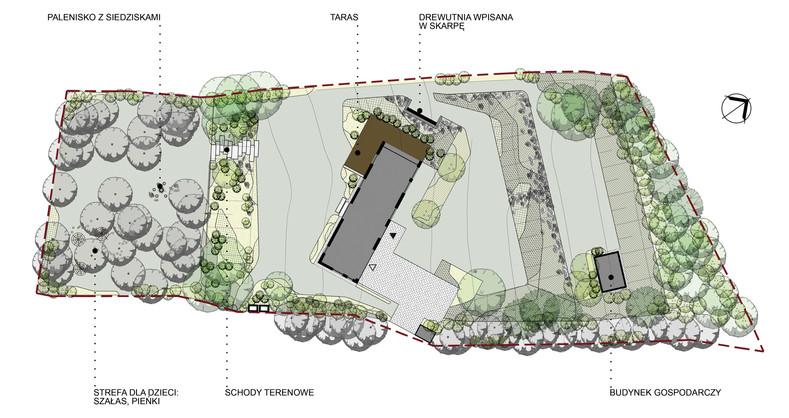 Projekt koncepcyjny ogrodu przydomowego w Bystrej