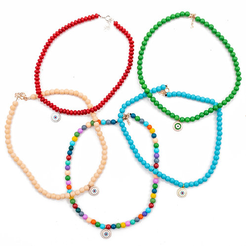 Mykonos Eye Beads Necklace.