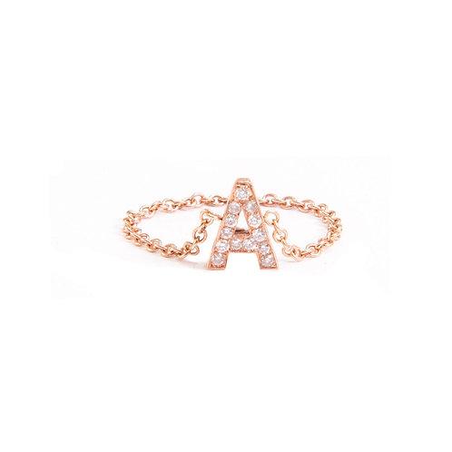 AS Letter 14K Diamond Ring