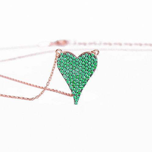 Amore Heart Pave Necklace