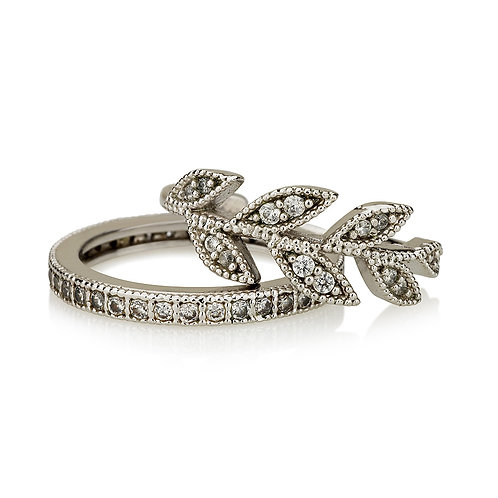 Leaf & pave rings
