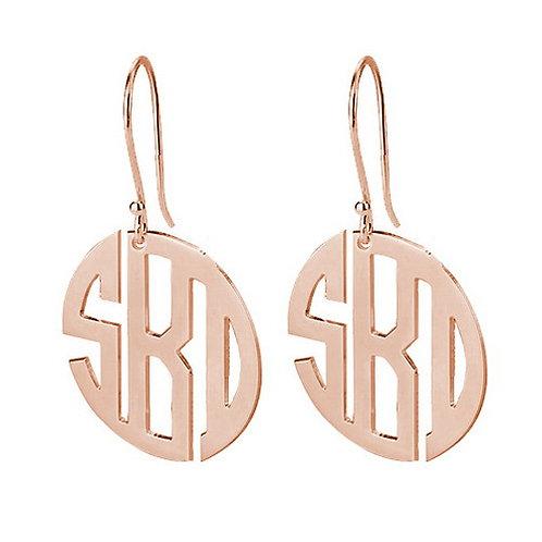 Block monogram earring