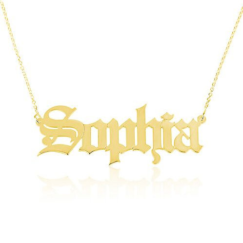 Gothic Name Pendant Necklace