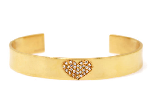 Pave heart open cuff