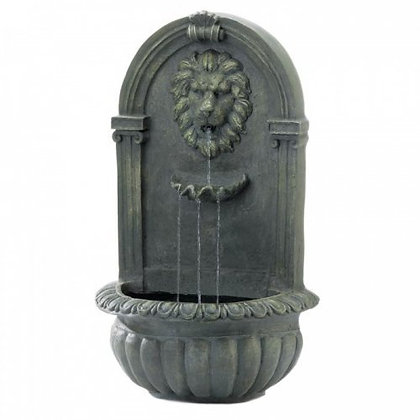 Mossy Green Lion Wall Fountain