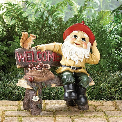 Garden Gnome Welcome Greeting Sign