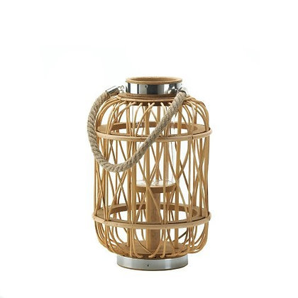 Medium Woven Rattan Candle Lantern