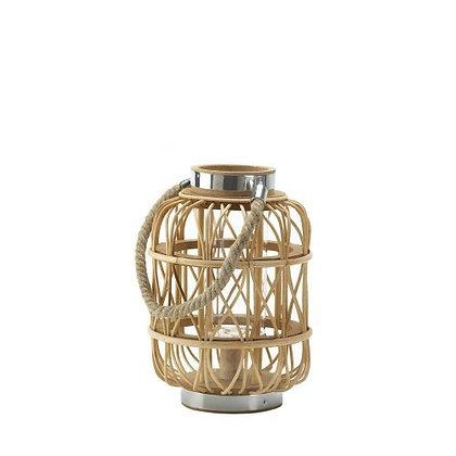 Small Woven Rattan Candle Lantern