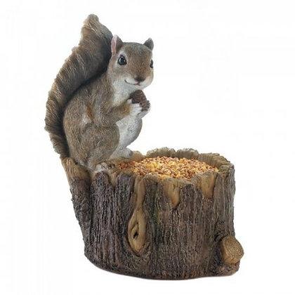 Squirrel on a Tree Trunk Bird Feeder