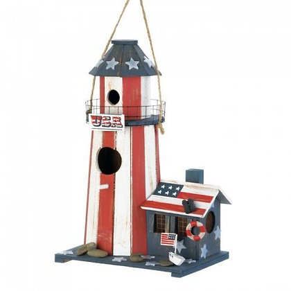 Patriotic Birdhouse Lighthouse