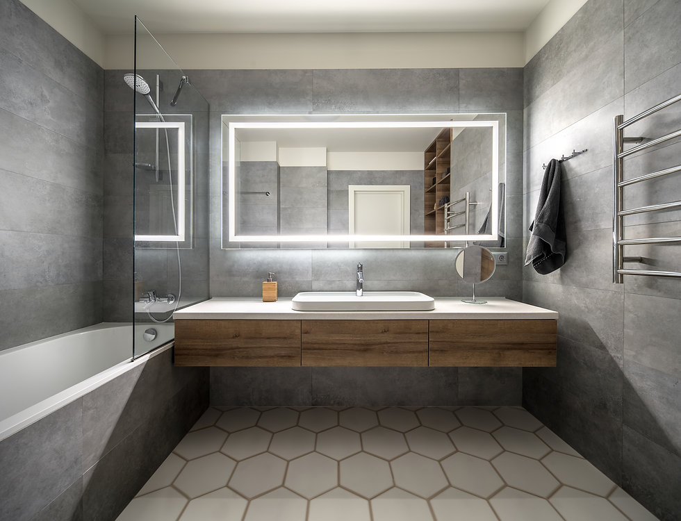 Bathroom in a modern style with gray and