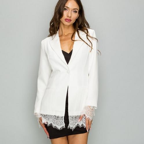 Classy Lace Trim Blazer