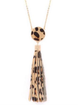 Leopard Tassel Pendant Necklace