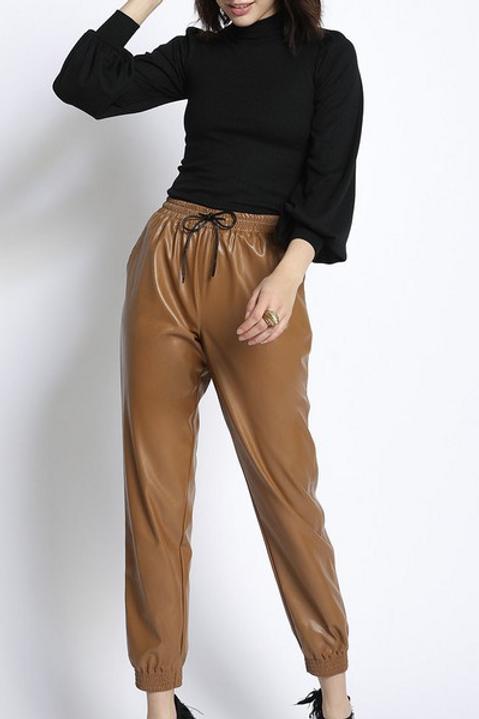 Camel Leather Jogger Pants