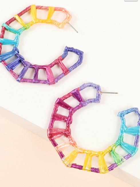 Raffia Wrapped Hoop Earrings