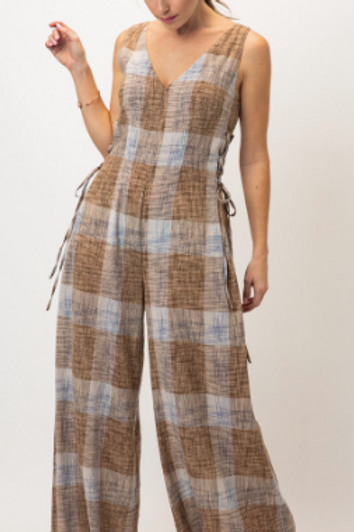 Plaid/Wide Leg Jumpsuit