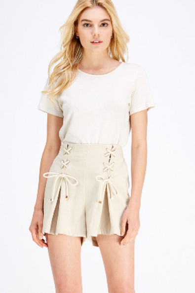 High-Waisted Pleated Shorts