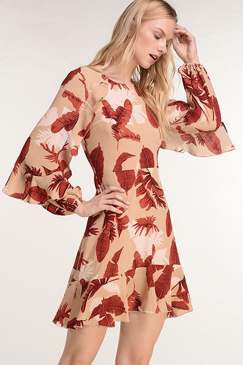 Feather Print with Ruffle Sleeves Dress