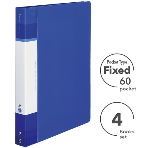clear book a4 fixed pocket type 60 sheets x 4 pcs kokuyo