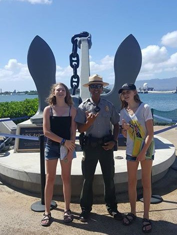 Earning our Jr Ranger badges at WWII Valor in the Pacific, Pearl Harbor, HI