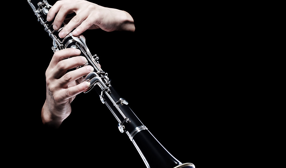 Clarinet player hands isolated. Woodwind