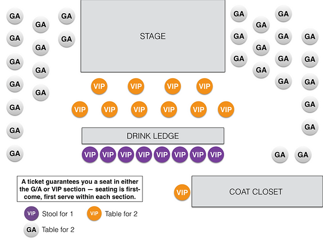 Winter's Jazz Club Seating Chart