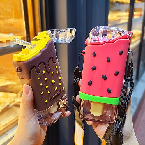 New Summer Cute Donut Ice Cream Water Bottle With Straw Watermelon BPA Free
