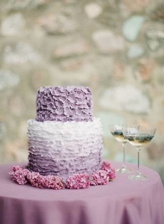 Ruffled lavender wedding cake
