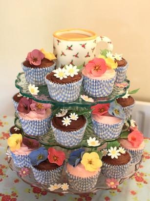 Floral cupcake tower