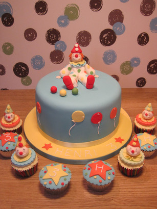 Clown, circus theme cake