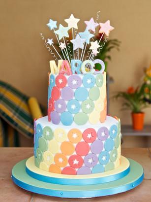 Star and rainbow cake