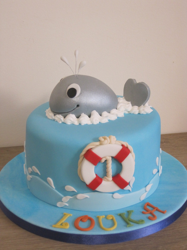 Ocean birthday cake, little whale