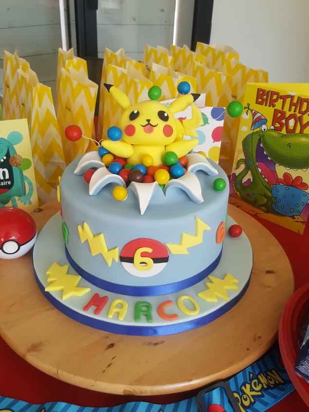 Pokemon Pikachu theme cake - chocolate sweets surprise