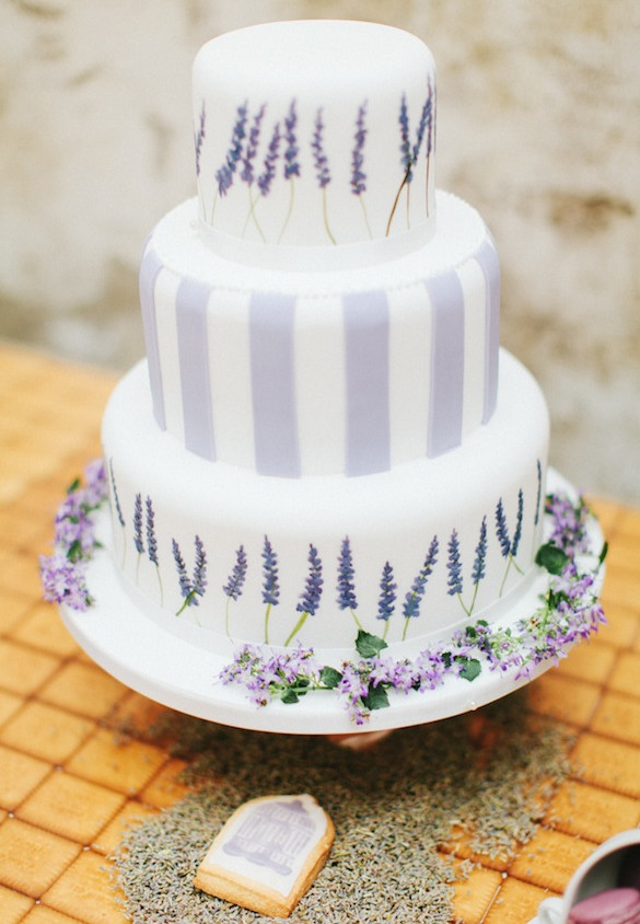 Provence lavender themed hand painted wedding cake
