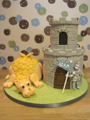 Knight and dragon with dungeon cake