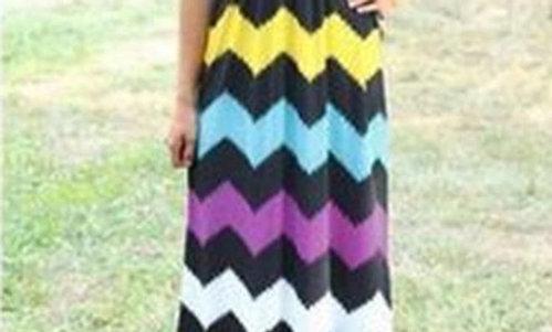 Black/Yellow/White- Maxi Dress