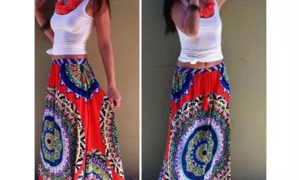 Red Hippie Girl Skirt
