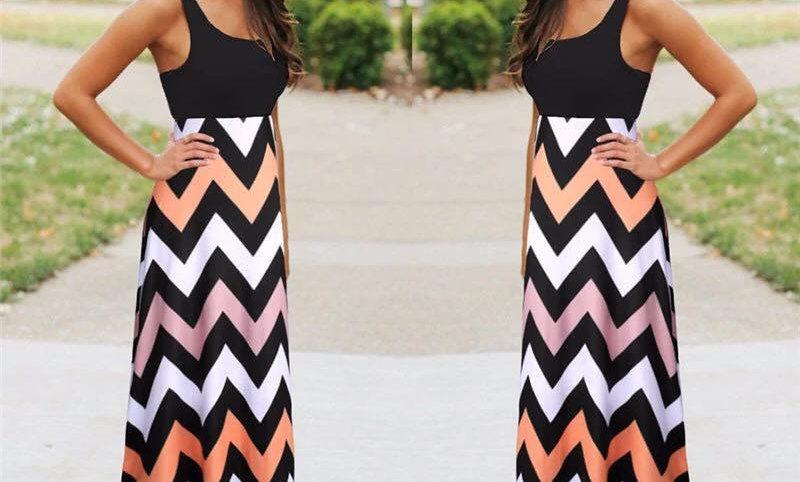 Black/White/Peach Maxi Dress