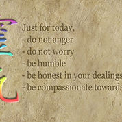 "The ""Just for today"" Reiki prayer on a brown textured background"
