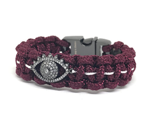 Burgundy/White Football Evil Eye